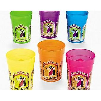 12 He Lives Christian Easter Plastic Cups | Kids Party Cups