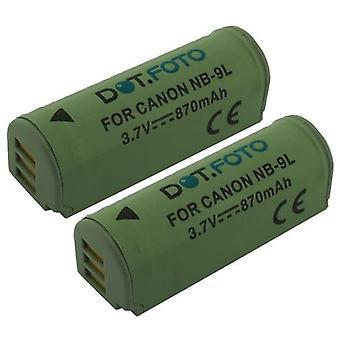 2 x Dot.Foto Canon NB - 9L, bateria da recolocação de NB-9LH - 3.5 ~ 3.7 v / 870mAh