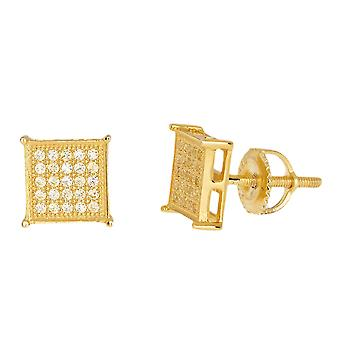 925 sterling silver MICRO PAVE earrings - SQUARE 8 mm gold