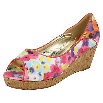 Girls Spot On Cork Wedge Sandals H1082