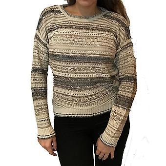 Dunnes Three Tone Striped Loose Long Sleeve Knit Jumper