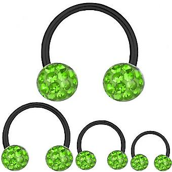 Circular Barbell Horseshoe Black Titanium 1,6mm, Multi Crystal Ball Green | 8-16