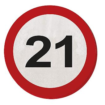 Napkin traffic sign number 21 20 St. sign birthday party