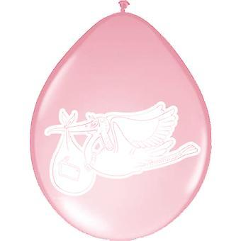 Geburt Ballons Klapperstorch rosa Luftballons 8 St. Deko Taufe