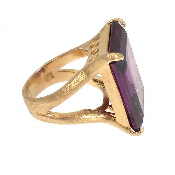 W.A.T Gold Plated 925 Sterling Silver Purple Cubic Zirconia Cocktail Ring