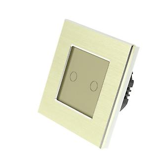 I LumoS Gold Brushed Aluminium 2 Gang 1 Way Remote & Dimmer Touch LED Light Switch Gold Insert