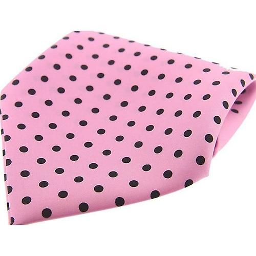 David Van Hagen Polka Dot Silk Twill Pocket Square - Pink/Black