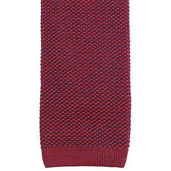 KJ Beckett Two Tone Cotton Tie - Red/Navy