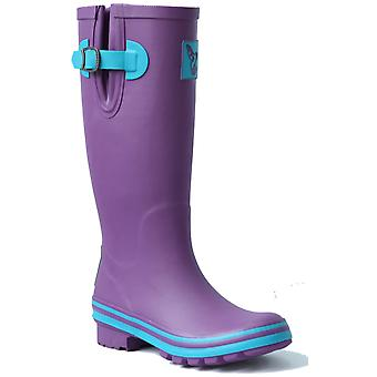 Evercreatures Ladies Eggplant Wellies Purple with Turquoise Edging Various Sizes