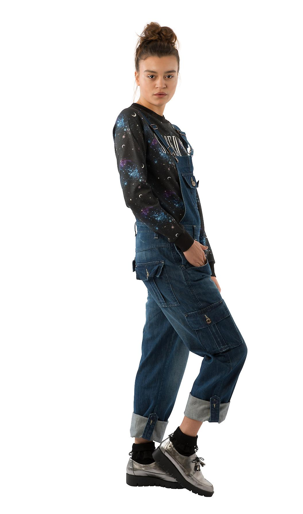 USKEES DAISY Women's Darkwash Dungarees relaxed fit Roll-up leg overalls