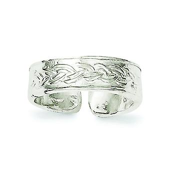 Sterling Silver Solid Textured Toe Ring - 1.6 Grams