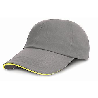 Result Headwear Kids Junior Low Profile Heavy Brushed Cotton Cap With Sandwich Peak