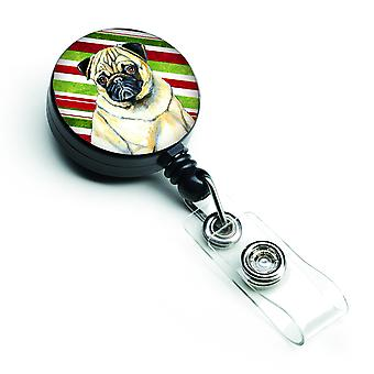 Pug Candy Cane Holiday Christmas Retractable Badge Reel