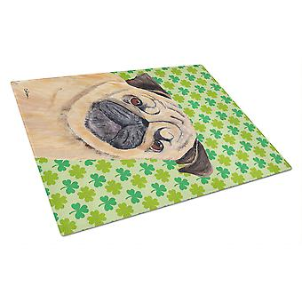 Pug St. Patrick's Day Shamrock Portrait Glass Cutting Board Large