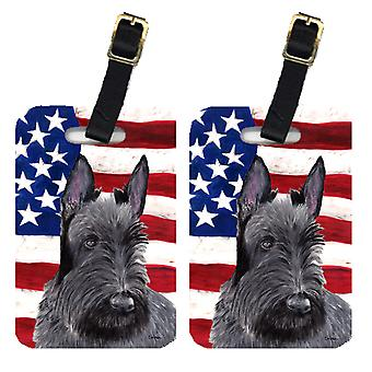 Pair of USA American Flag with Scottish Terrier Luggage Tags