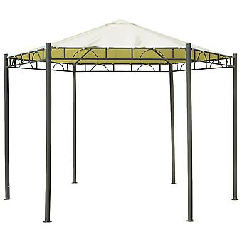 Charles Bentley 3.5m Hexagonal Beige Gazebo Canopy Patio Garden Wedding Marquee Tent