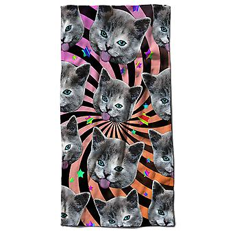 Stars Pattern Funny Cat Beach Towel 70cm x 150cm | Wellcoda