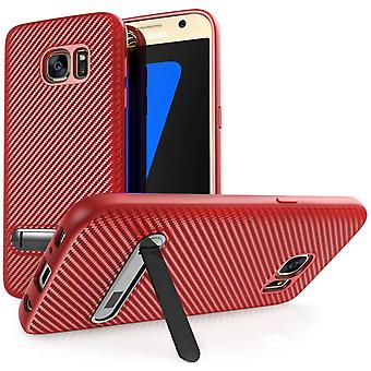 Samsung Galaxy S7 Carbon Fibre Stand Gel Case - Red