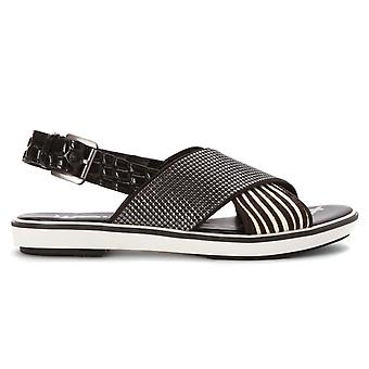 Sam Edelman women's BRMHD3086L1900 white/black leather sandals