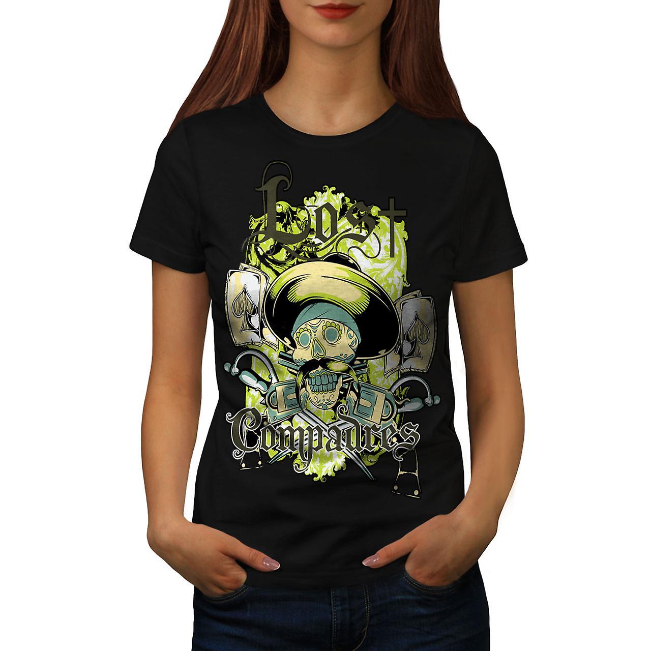 Lost Compadres Cool Skull Women Black T-shirt | Wellcoda