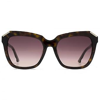 Swarovski Fearless Geometric Sunglasses In Dark Havana