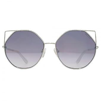 Guess Metal Peaked Round Sunglasses In Shiny Light Nickeltin Grey Mirror
