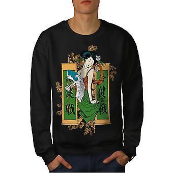 Fille japonaise hommes BlackSweatshirt   Wellcoda