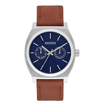 Nixon The Time Teller Deluxe Leather Navy Sunray Brown (A9272307)