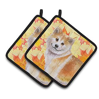 Carolines Treasures  BB9939PTHD Shiba Inu Fall Pair of Pot Holders