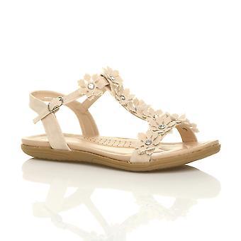 Ajvani womens liso com bojo conforto t-bar fivela flor diamante sandálias