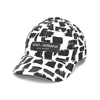 Dolce E Gabbana men's GH613AFSFFMHWH95 white/black cotton Hat