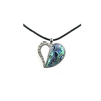 Woman in Abalone and Crystal heart pendant necklace