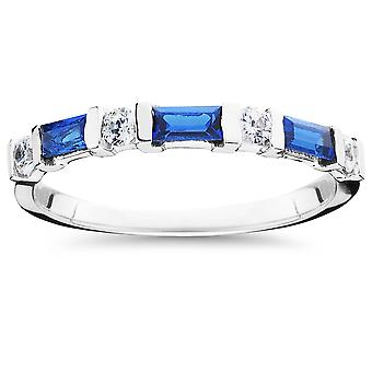 5/8ct Blue Sapphire & Diamond Wedding Stackable Ring 14K White Gold