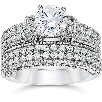 2 7 / 8ct cathédrale pavé de diamants Engagemnt Wedding Ring Set 14K or blanc