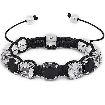 Iced out unisex bracelet - PRONG SHAMBALLA black / silver
