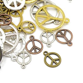 Packet 30 Grams Multicolour Tibetan 5-40mm Peace Sign Charm/Pendant Mix HA07420