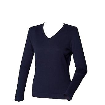 Henbury Womens 12 Gauge Long Sleeve V-Neck Jumper