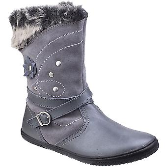 Hush Puppies Girls Pippa Suade Leather Fur Lined Pull on Casual Boots