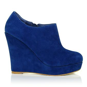 H051 Blue Faux Suede Wedge Very High Heel Platform Shoes