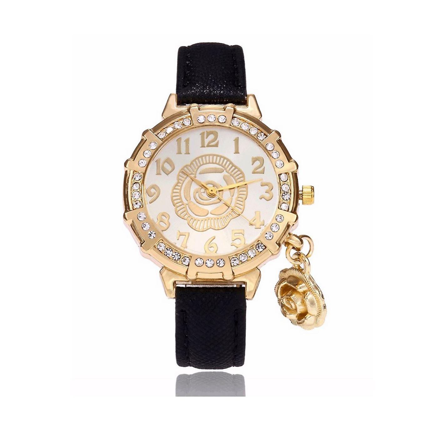 Classy Yellow Gold Flower Watch Luxury Stones Elegant Time Black