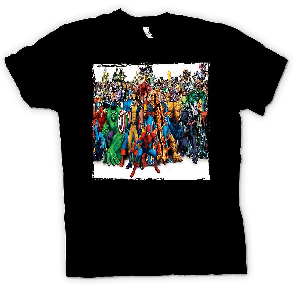 Womens T-shirt - Marvel Comic Hero Group - portret