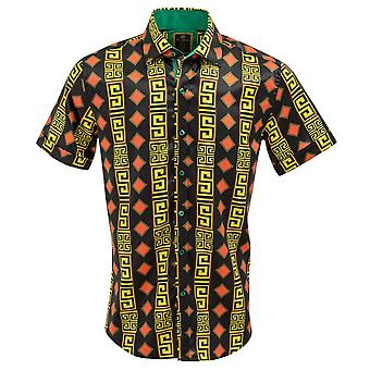 Oscar Banks Satin Black Diamond Print Short Sleeve Mens Shirt