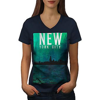 Water Urban Photo New Women NavyV-Neck T-shirt | Wellcoda
