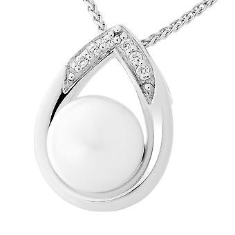 Orphelia Silber 925 Kette mit Anhänger Tropfen weiße Perle Zirkonium ZH-7115