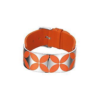 ESPRIT kvinnors läder armband rostfritt stål myllrande flora orchid ESBR11431B200