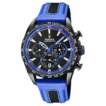 Festina Mens Sport Chronograph Blue Leather Strap Black Dial F20351/2 Watch