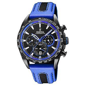 Montre Festina Mens Sport chronographe en cuir bleu bracelet cadran noir F20351/2