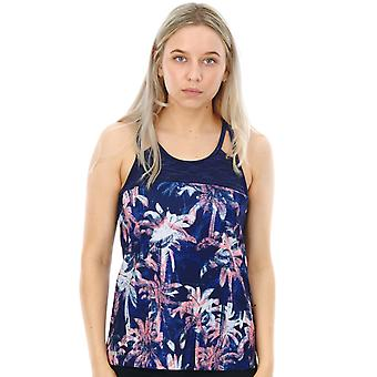 Roxy Blue Depths Washed Palm Thana Womens Sports Tank Top