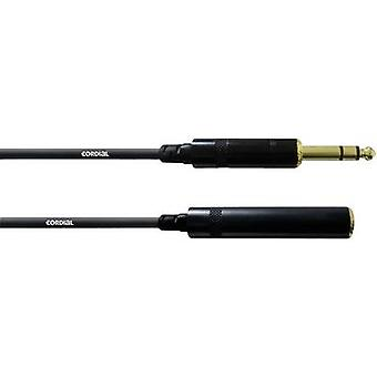 Cordial CFM 5 VK Cinch Cable extension [1x Jack plug 6.35 mm - 1x Jack socket 6.3 mm] 5 m Black