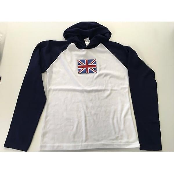 Union Jack Wear Ladies Hooded Top Sparkle Union Jack Long Sleeve